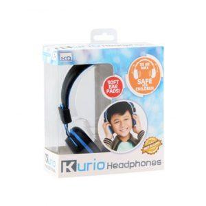 Blauwe Kurio kinderhoofdtelefoon in verpakking