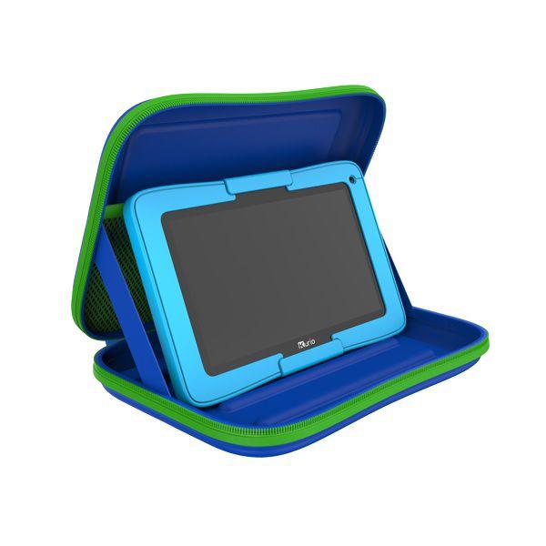 Blauwe kurio reiskoffer met blauwe tablet