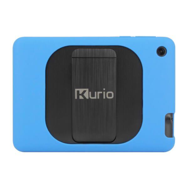 Kurio tablet achterkant met blauw bumper